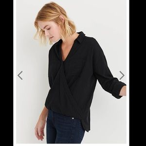 NWT- Lucky Brand Wrap Front Top- Black- Medium
